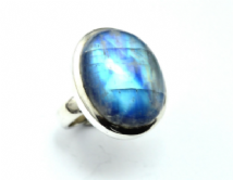 Very Large Rainbow Moonstone Ring Silver Oval 'One-Off' size Q